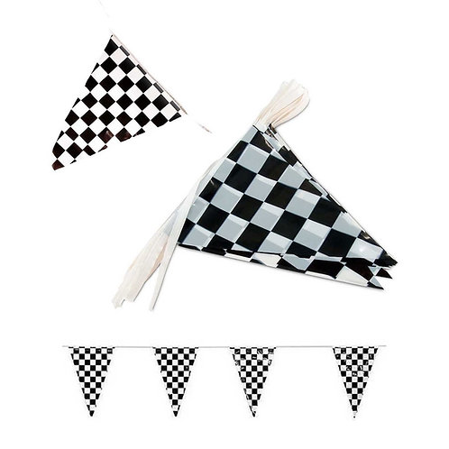 Black&White Checkered Triangle Streamer