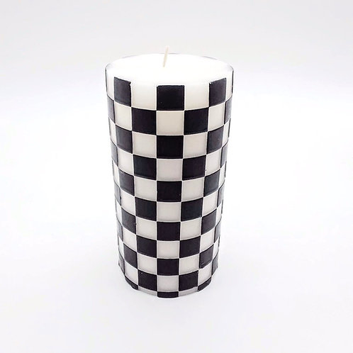 White & Black Checkered  Candle