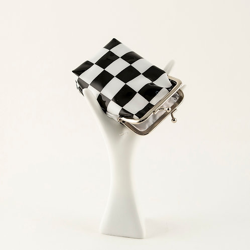 Checkered Clasp Pouch