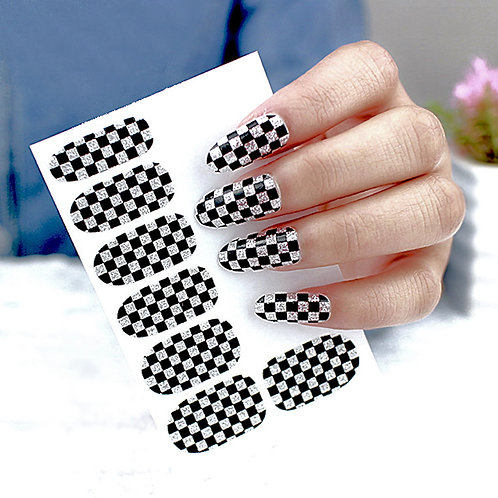 Checkered Glitter Nail Art Stickers (Wraps)