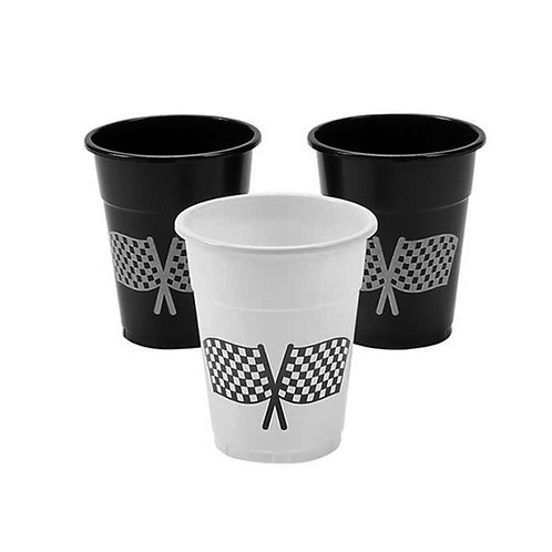 Racing flag plastic cups