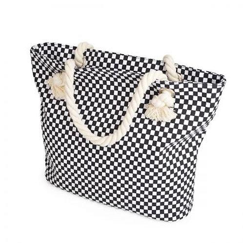 Black & White Checkered Print Canvas Tote  Bag