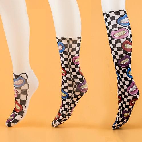 "Checkered ""Grills"" Socks"