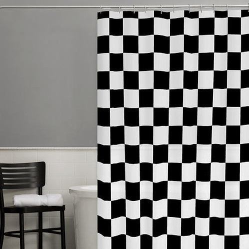 Check Black and White Shower Curtain