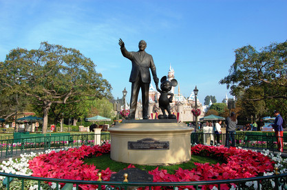 Colonades with Disney Characters surround Partners Statue