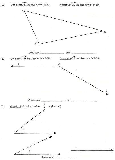 Printables Angle Bisector Worksheet constructing angle bisector worksheet intrepidpath construction bisectors