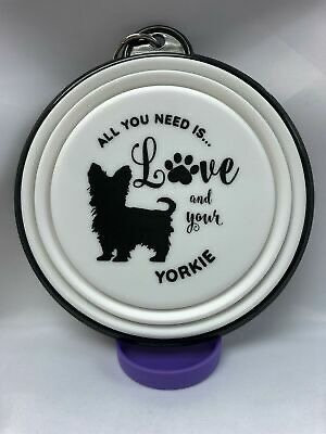 Yorkie collapsible dog bowl