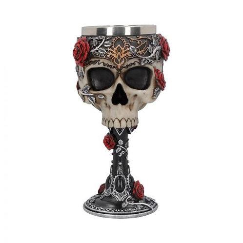 Gothic Roses Goblet Skull Horror Roses Wine Glass