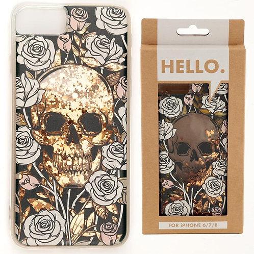 Skulls and Roses Glitter Phone Case Fits I Phone 6/7/8