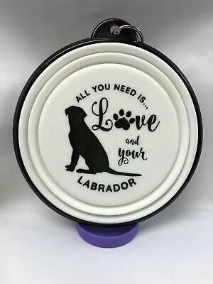 Labrador sitting collapsible dog bowl