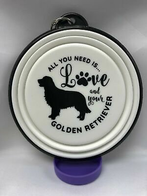 Golden Retriever collapsible dog bowl