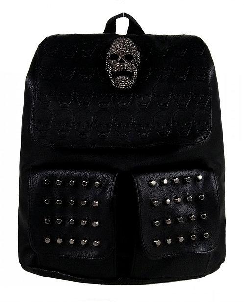 Black Gothic Metal Skull Head Twin Studded Tassel Tie Backpack