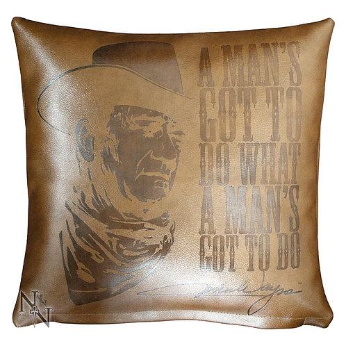 John Wayne Embossed Leather Cushion