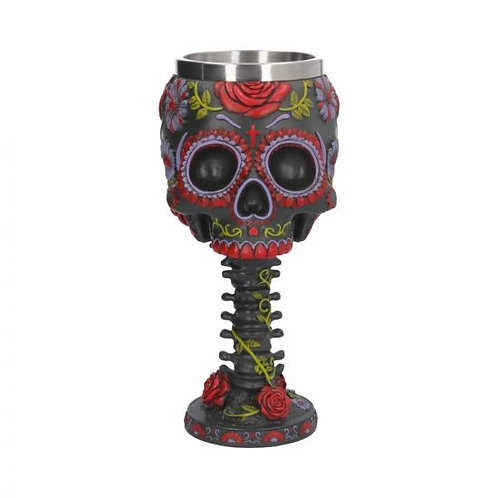 Sugar Blooms Goblet Day of the Dead Sugar Skull Wine Glass