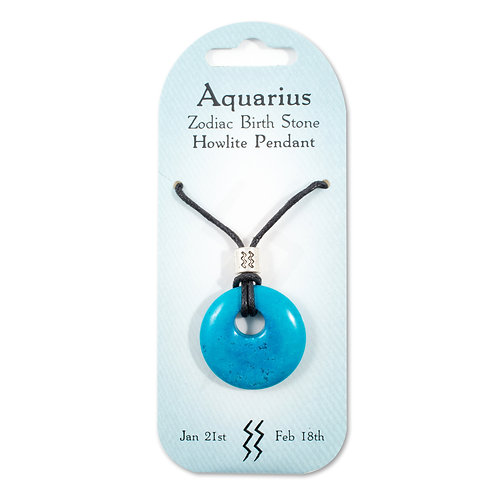 Aquarius, Zodiac Birth Stone, Necklace / Bracelet / Keyring (Howlite)