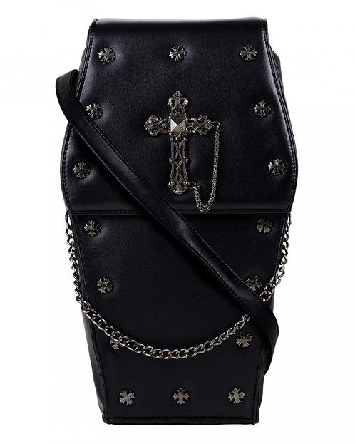 Mini Black Gothic Metal Cross Coffin Bag