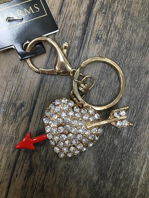 Love heart and arrow Keyring/ Bag Charm