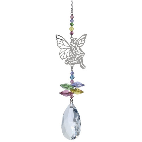 Sitting Fairy Hanging Crystal