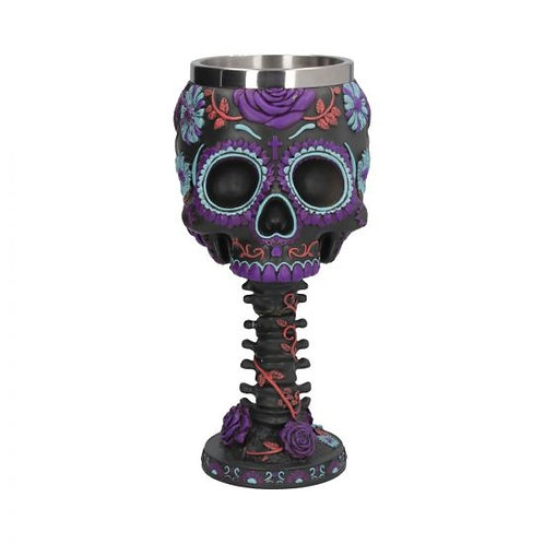 Twilight Blooms Goblet Day of the Dead Sugar Skull Wine Glass