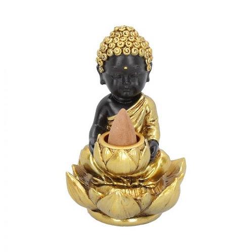 Black & Gold Baby Buddha Backflow Incense Burner