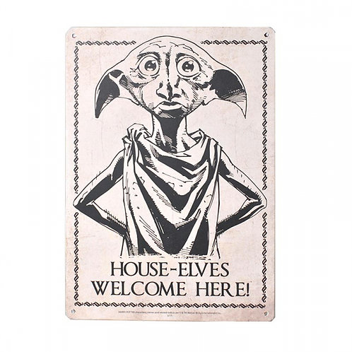 Harry Potter Tin Sign - House Elves Welcome Here