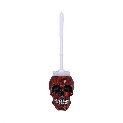 Flame Pattern Skull Toilet Brush Holder