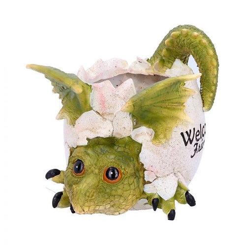 Welcome Friends Green Dragon Pot Ornament