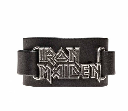 Iron Maiden Logo Leather Wriststraps