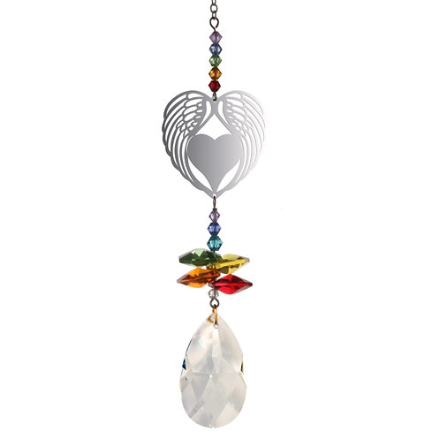 Angel Wing Heart Hanging Crystal