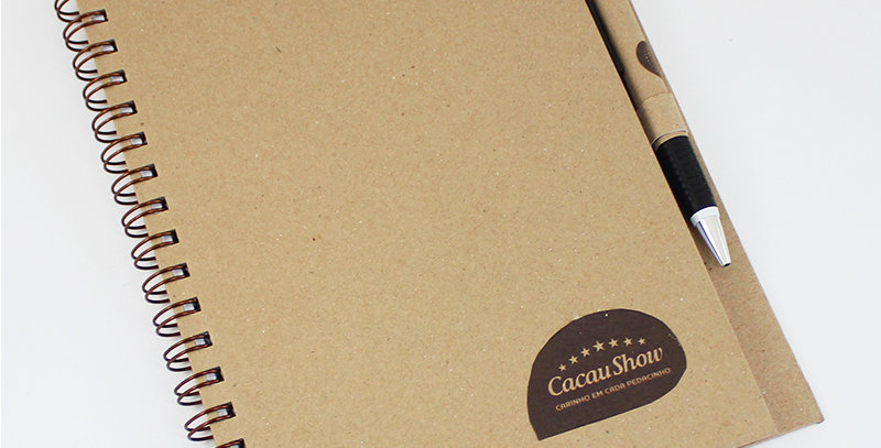 Caderno Com Caneta - Kraft - Personalizado