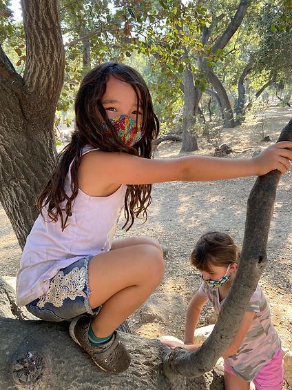 A girl in a tree wearing a facemask smiles at the camera while a second girl in a facemask starts to climb a tree at a summer camp.