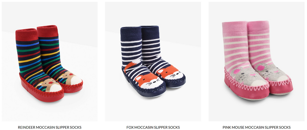 JoJo Maman Bébé Moccasin Slipper Socks - The Road To Wild