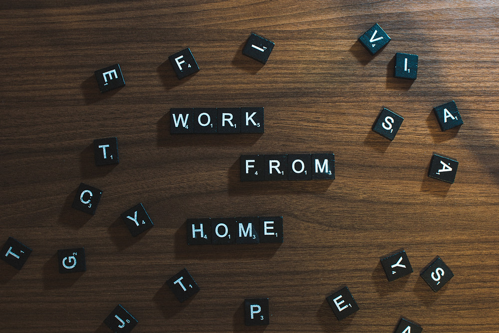 Scrabble tiles spell out 'Work From home'