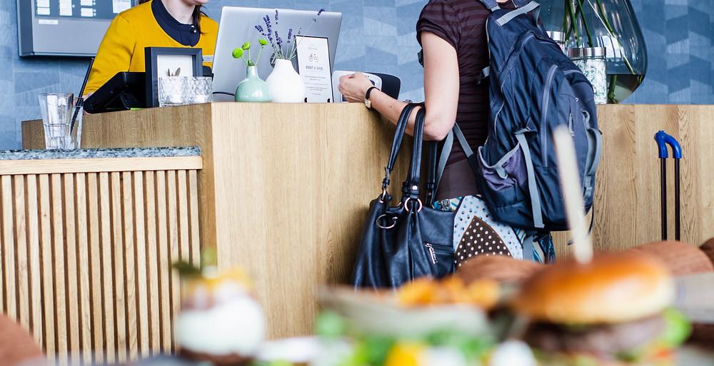 Customer shopping at cafe