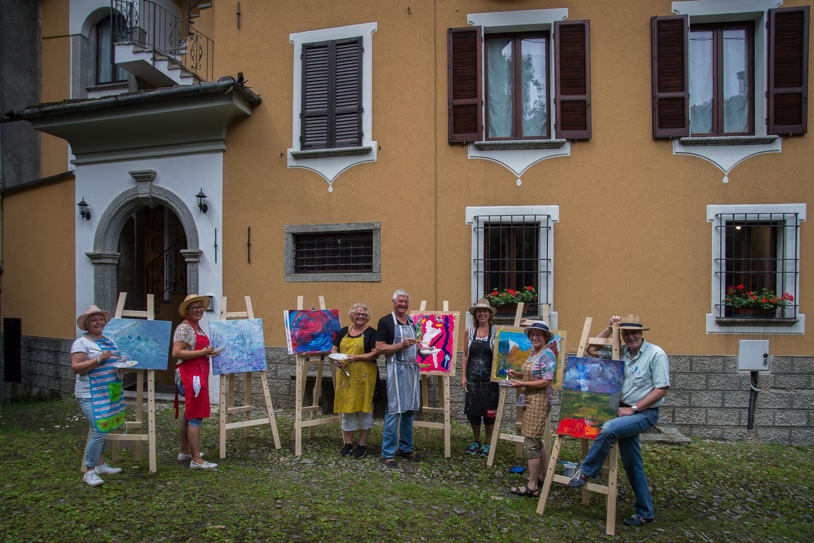 De schildersgroep voor Le Bucoliche