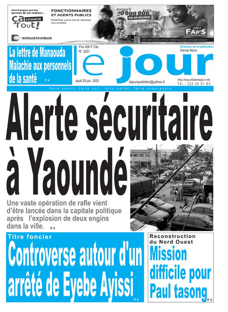 REVUE DE PRESSE AFRICAINE ET INTER EDITION DU JEUDI 25 06 2020.