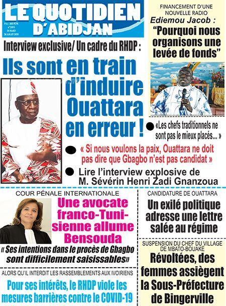REVUE DE PRESSE AFRICAINE ET INTER EDITION DU MARDI 28 07 2020.