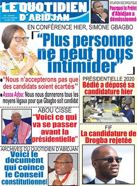 REVUE DE PRESSE AFRICAINE ET INTER EDITION DU VENDREDI 28 08 2020.