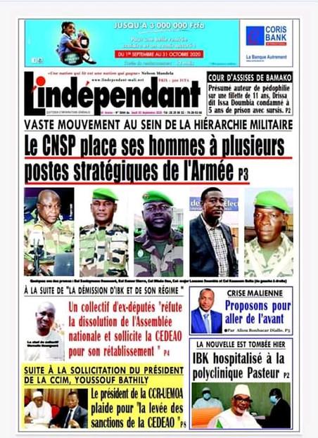 REVUE DE PRESSE AFRICAINE ET INTER EDITION DU JEUDI 03 09 2020.