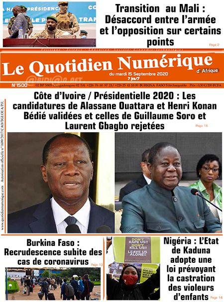 REVUE DE PRESSE AFRICAINE ET INTER EDITION DU MARDI 15 09 2020.