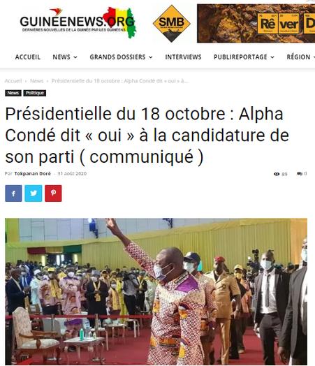 REVUE DE PRESSE AFRICAINE ET INTER EDITION DU MARDI 01 09 2020.
