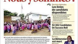REVUE DE PRESSE AFRICAINE ET INTER EDITION DU LUNDI 05 10 2020.