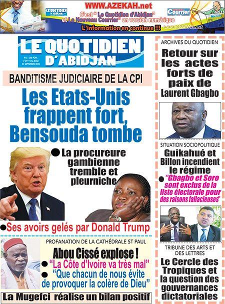 REVUE DE PRESSE AFRICAINE ET INTER EDITION DU VENDREDI 04 09 2020.