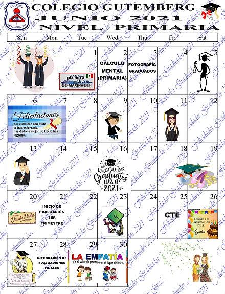 CALENDARIO DEL MES DE JUNIO  PRIMARIA 20