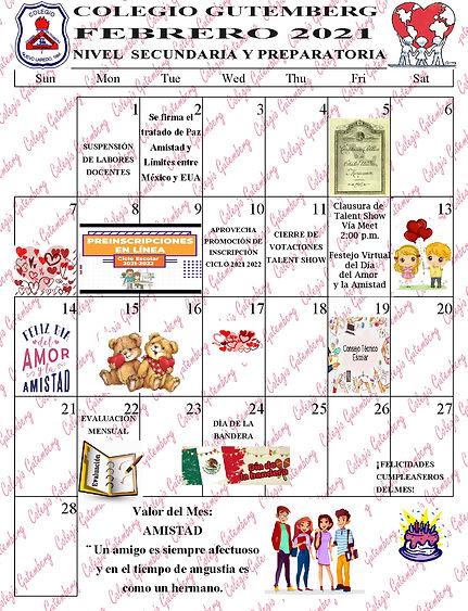 CALENDARIO DEL MES DE FEBRERO 21 SEC Y P