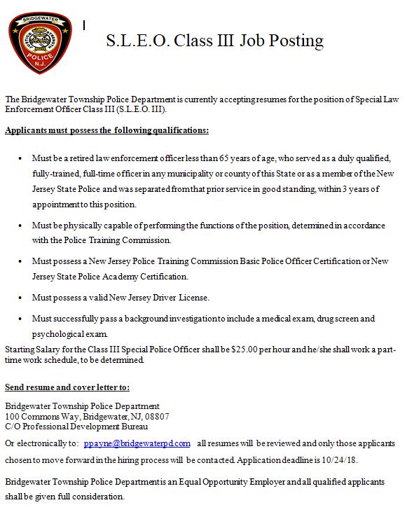 October 4, 2018 - Hiring of Special Law Enforcement Officer
