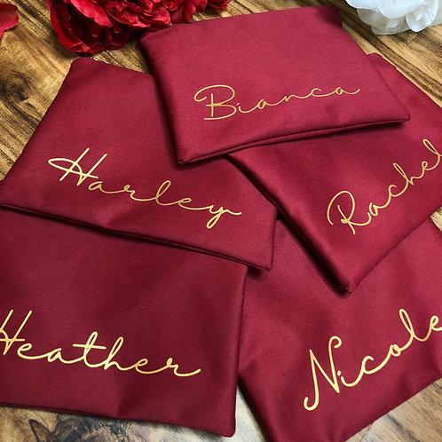 Burgundy Custom Name Cosmetic Bag