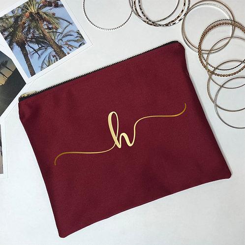 Burgundy Customized Initial Makeup Bag