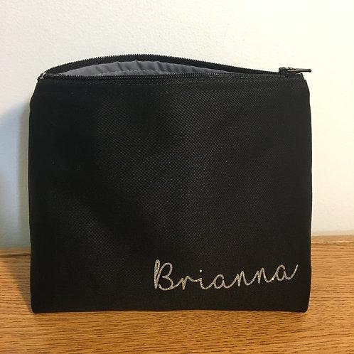 Custom Black Standing Makeup/Toiletry Bag