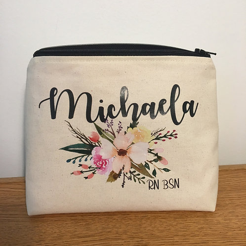 Customized Natural Coloured Standing Toiletry/Makeup Bag